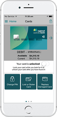 Regional Australia Bank App - Unactivated card screen