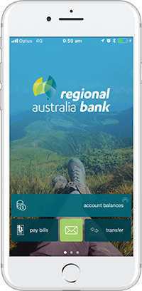 Regional Australia Bank App - Home screen