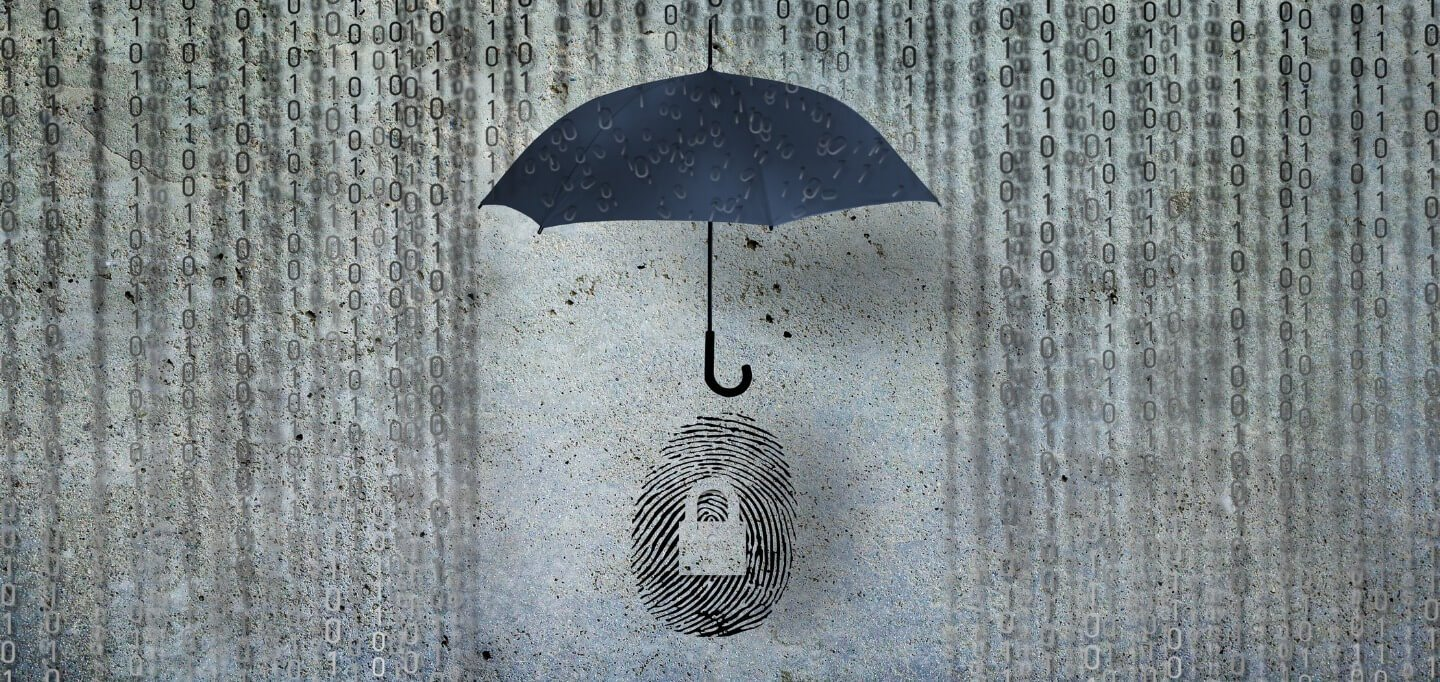 Illustration of an umbrella protecting a finger print from a rainfall of binary