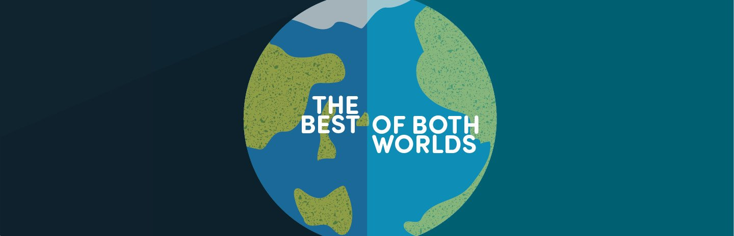 Illustration of planet Earth with the words 'The Best of Both Worlds' on top